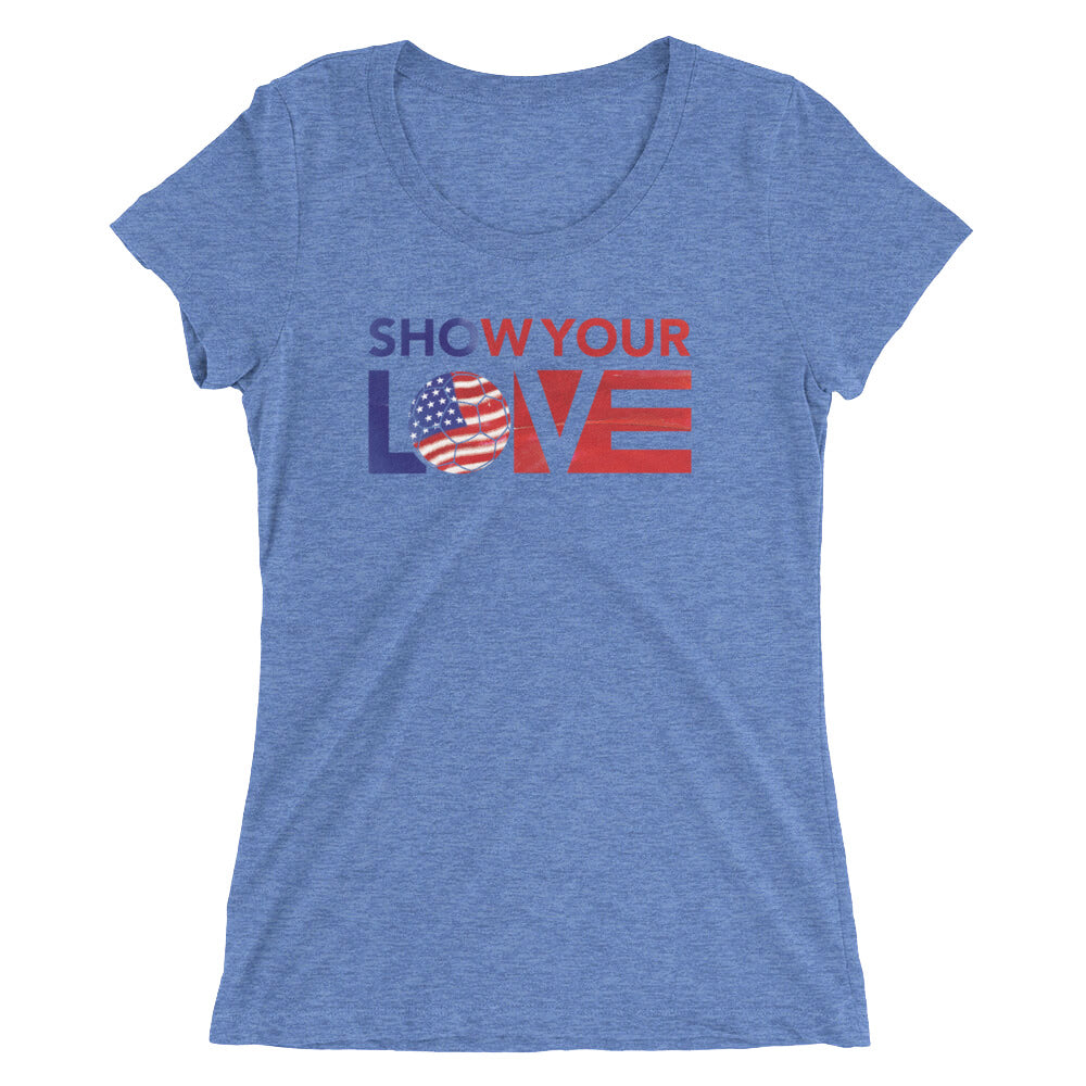 Blue Triblend Show Your Love USA Ultra Slim Fit Tee