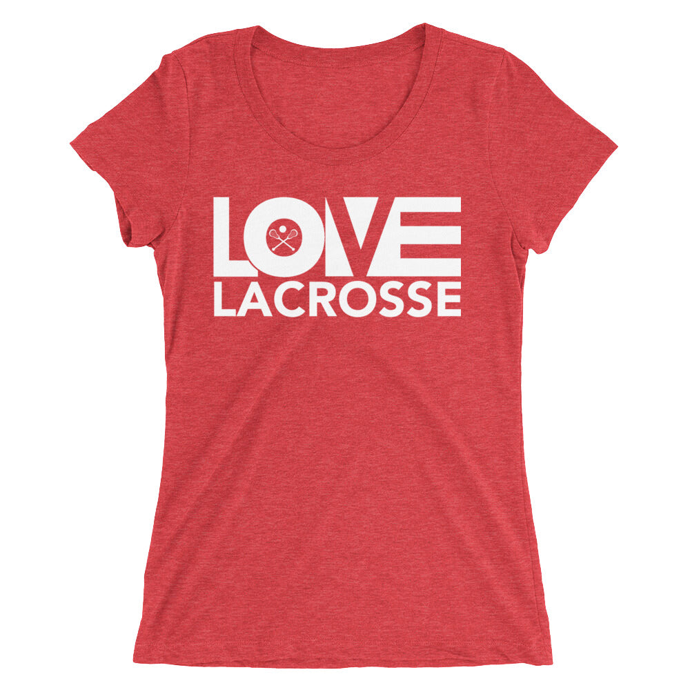 Red LOV=Lacrosse Ultra Slim Fit Triblend Tee
