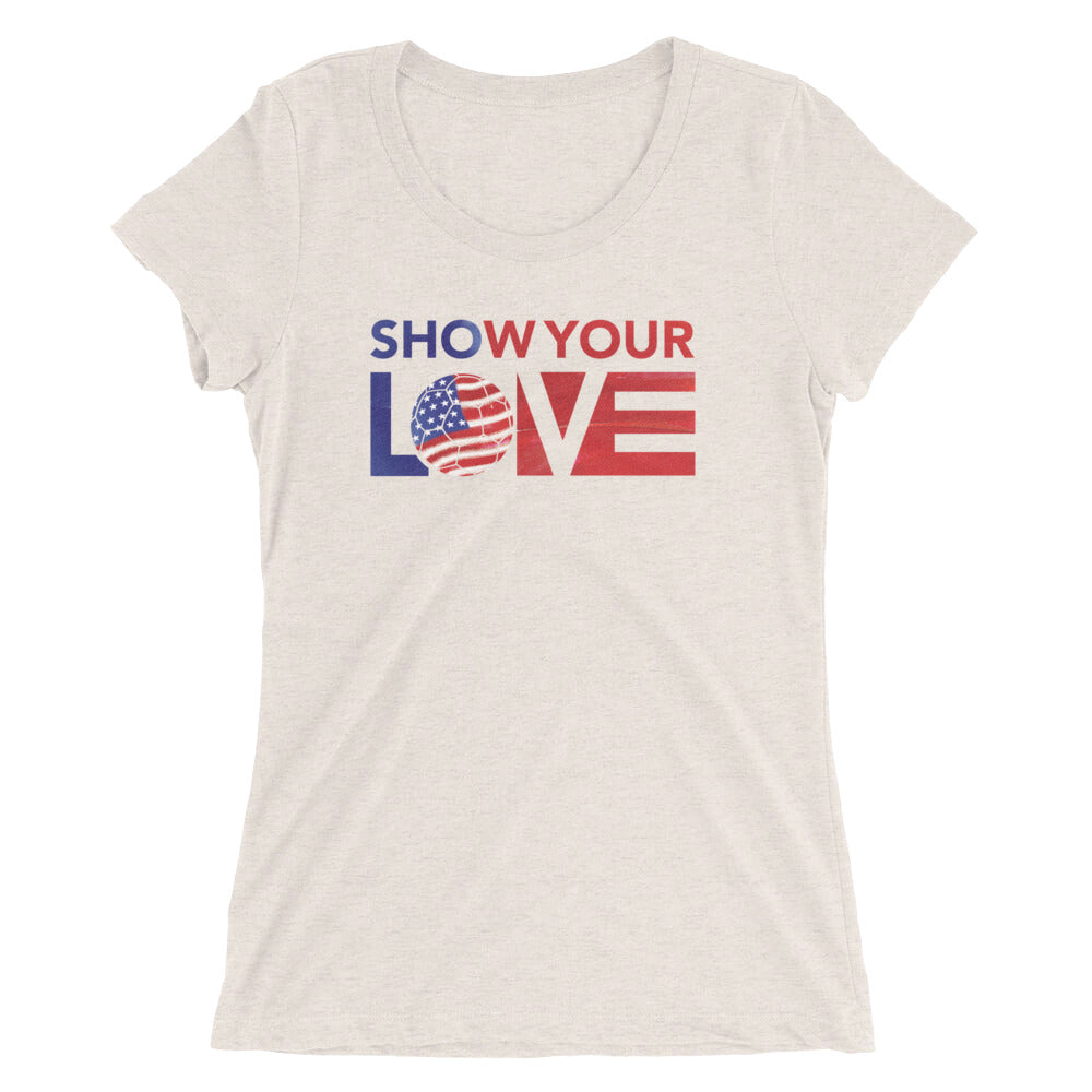 Oatmeal Triblend Show Your Love USA Ultra Slim Fit Tee