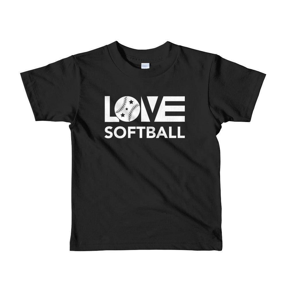 Black LOV=Softball Kid Tee
