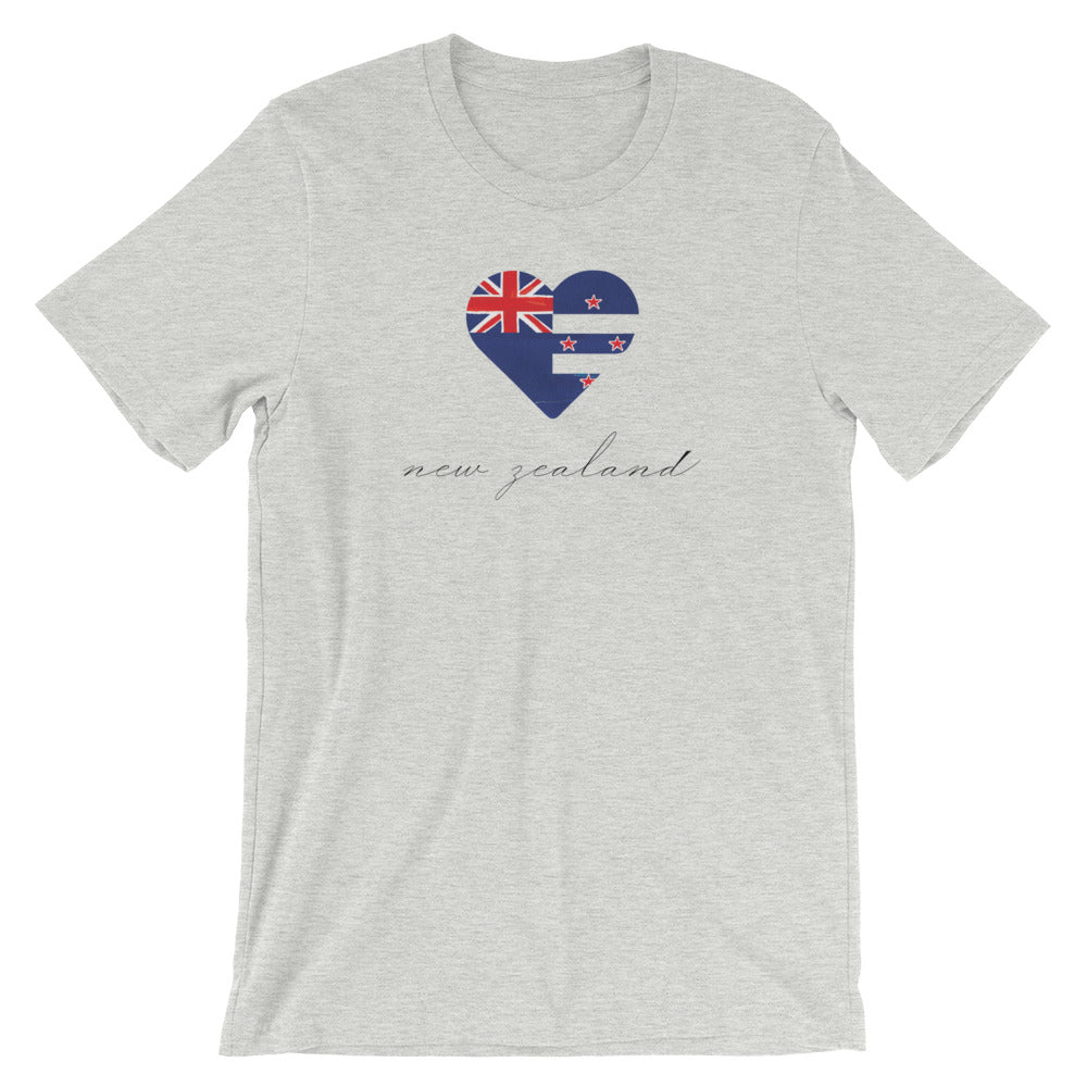 Athletic Heather New Zealand Heart Unisex Tee