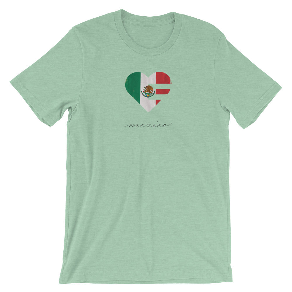 Heather Prism Mint Mexico Heart Unisex Tee