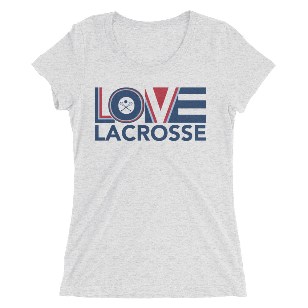 White LOV=Lacrosse Ultra Slim Fit Triblend Tee