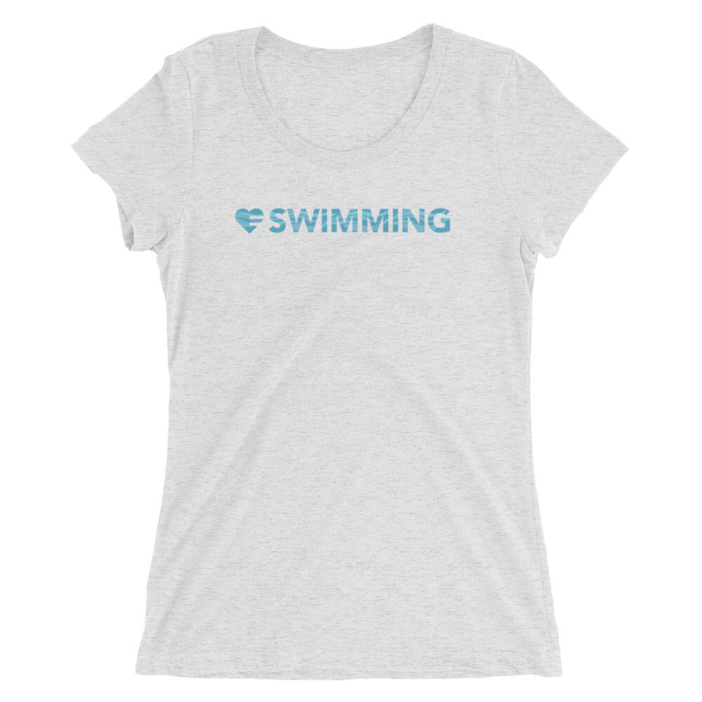 White Heart=Swimming Ultra Slim Fit Triblend Tee