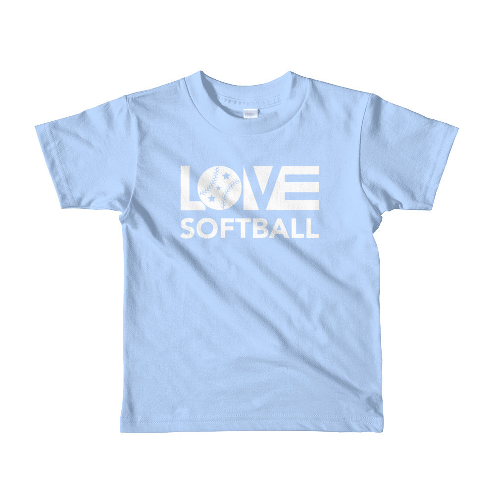 Baby blue LOV=Softball Kid Tee