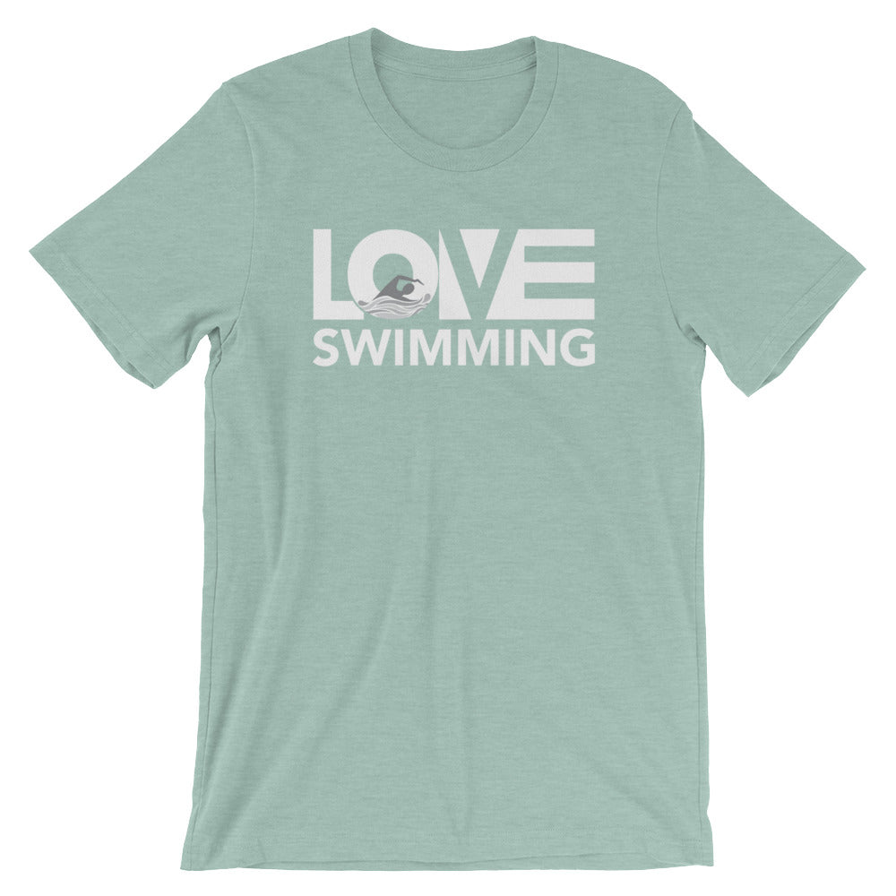 Dusty blue LOV=Swimming Unisex Tee