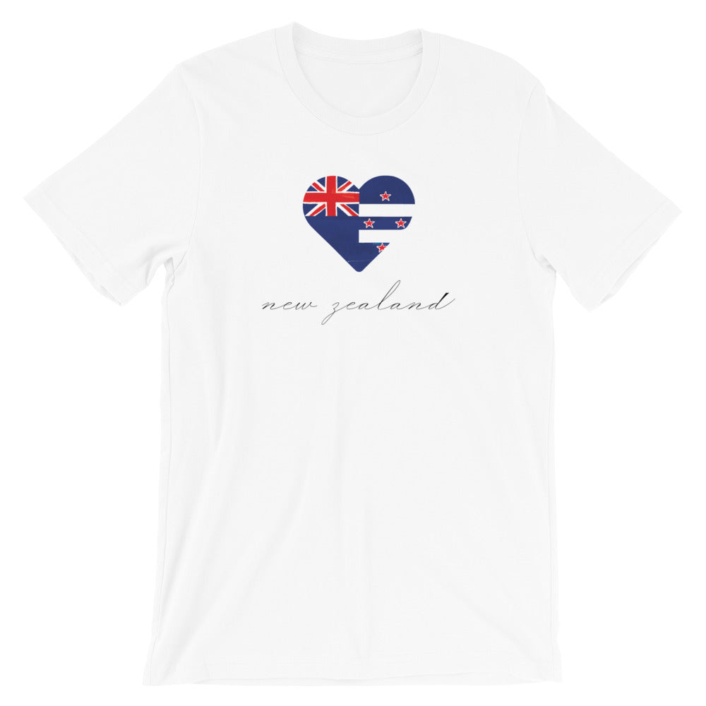 White New Zealand Heart Unisex Tee