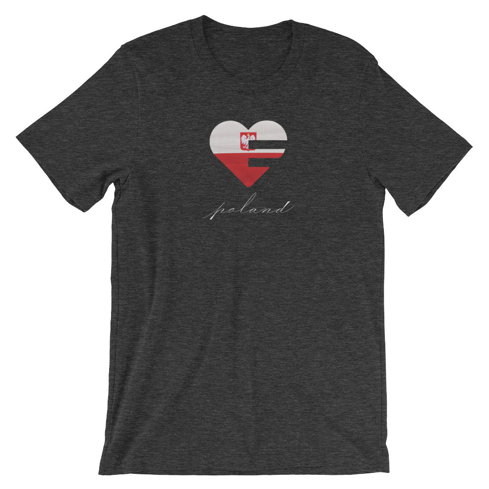 Dark Grey Poland Heart Unisex Tee