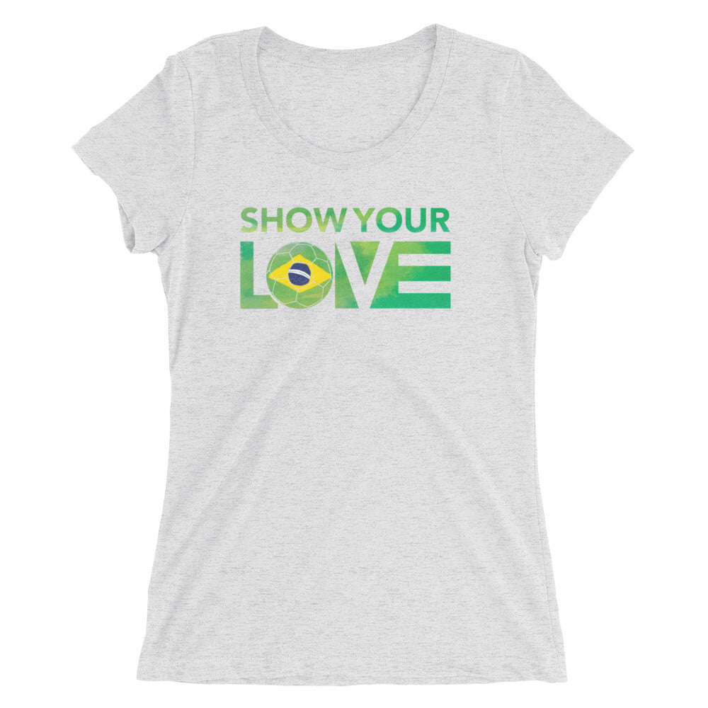 White Fleck Show Your Love Brazil Ultra Slim Fit Tee