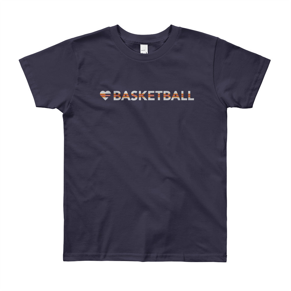 Navy Heart=Basketball Youth Tee