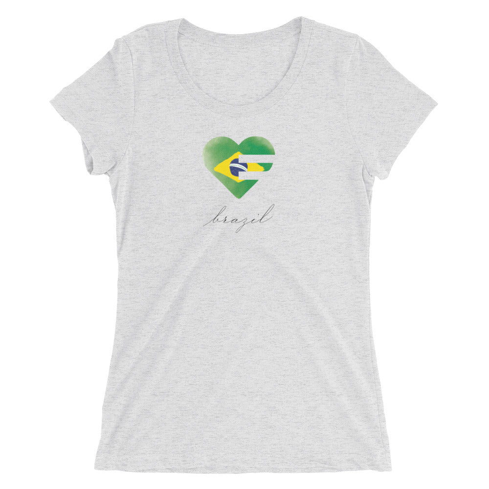 White Fleck Brazil Heart Ultra Slim Fit Triblend Tee