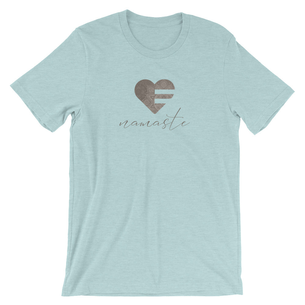 Heather Prism Ice Blue Heart Namaste Unisex Tee
