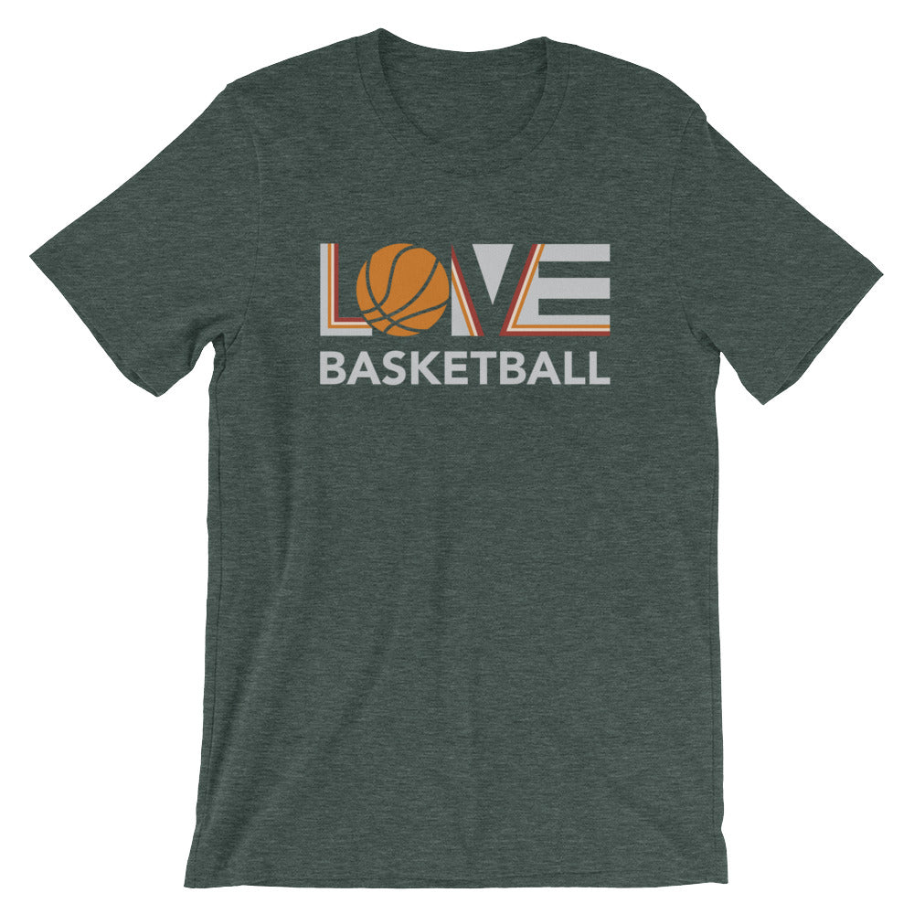 Heather forest LOV=Basketball Unisex Tee