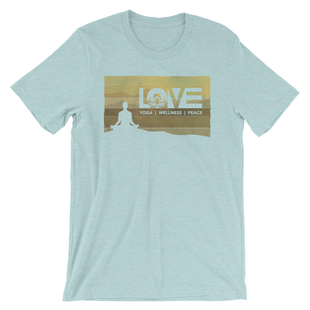 Heather Prism Ice Blue LOV=Yoga Vintage Unisex Tee