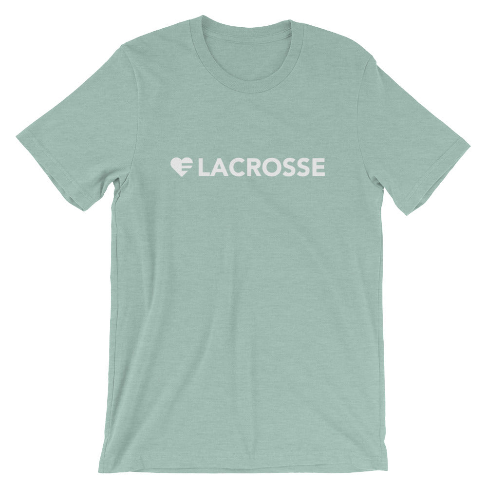 Prism Dusty Blue Heart=Lacrosse Unisex Tee