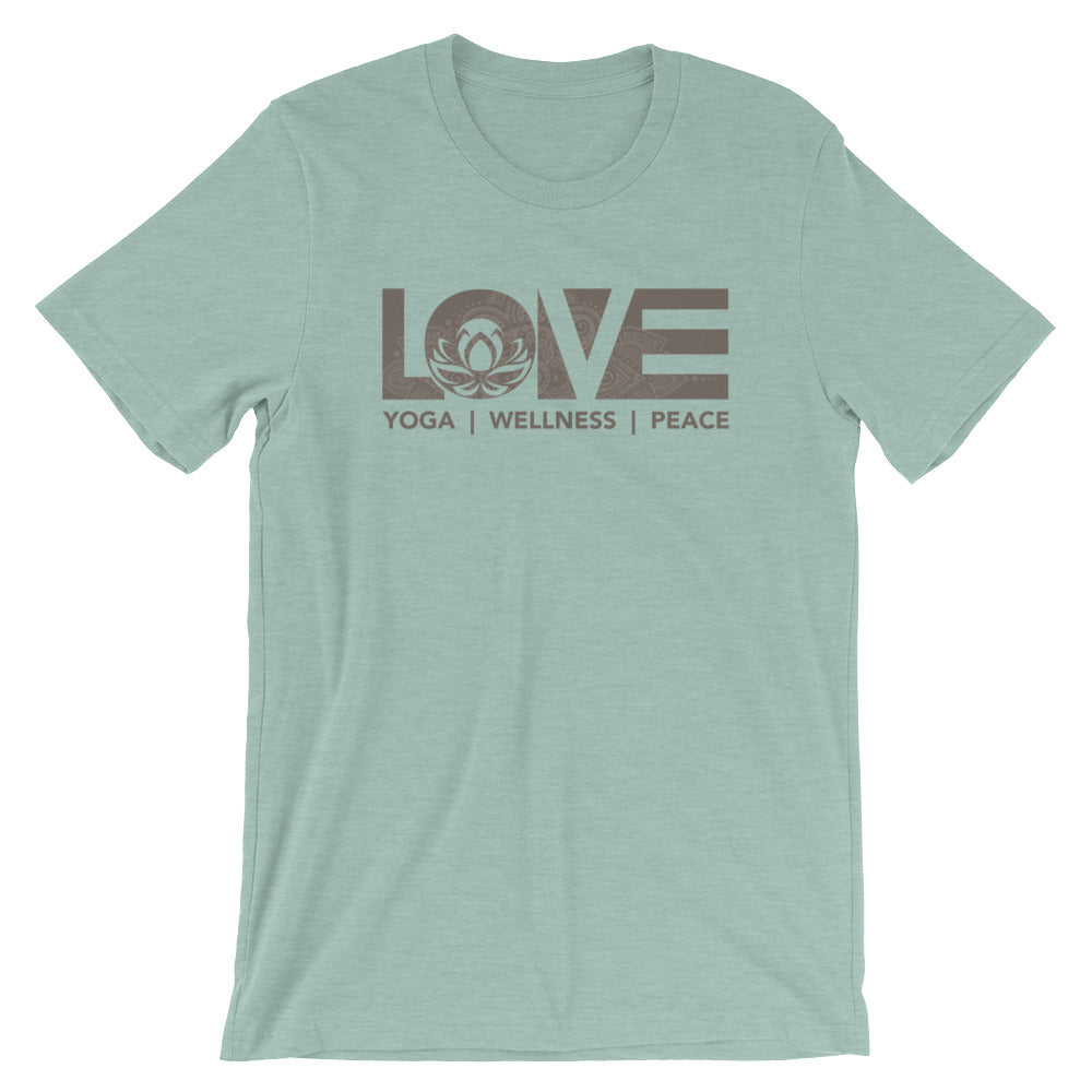 Heather Prism Dusty Blue LOV=Yoga Unisex Tee