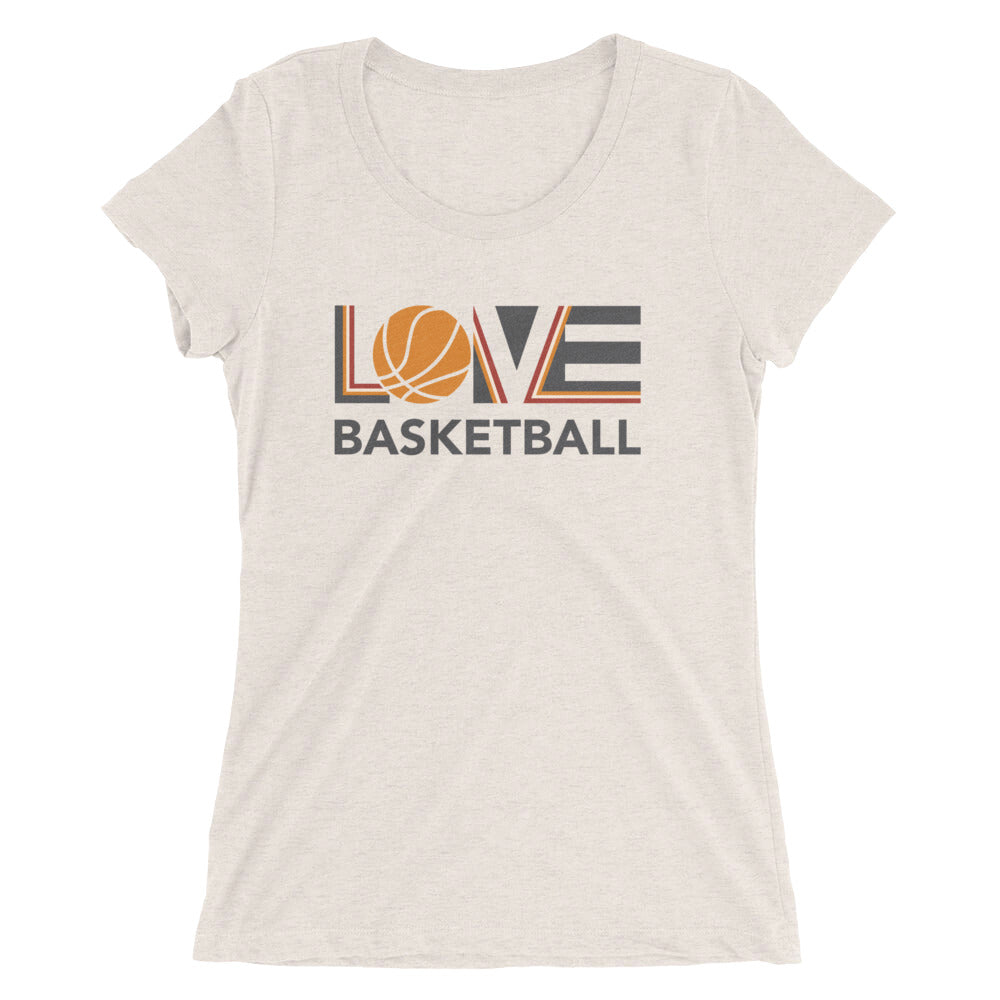 Oatmeal LOV=Basketball Ultra Slim Fit Triblend Tee
