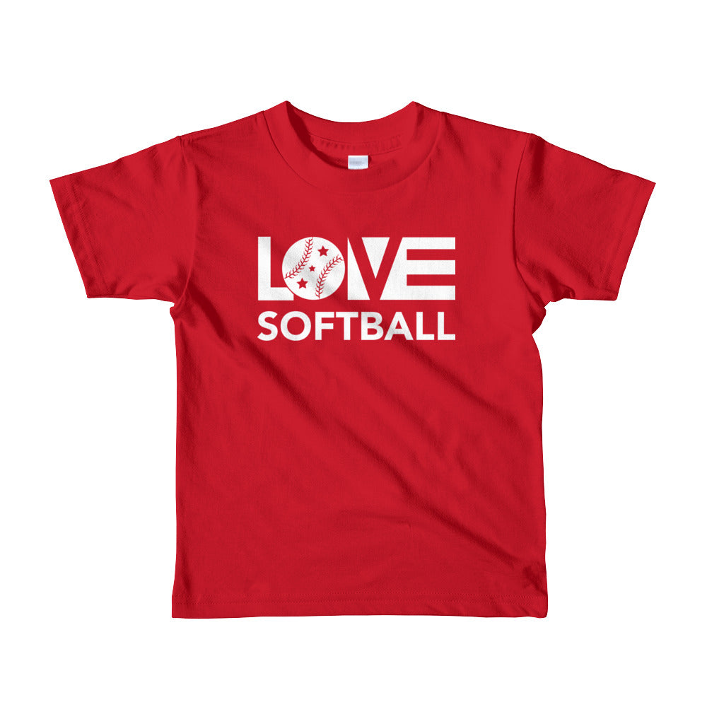 Red LOV=Softball Kid Tee