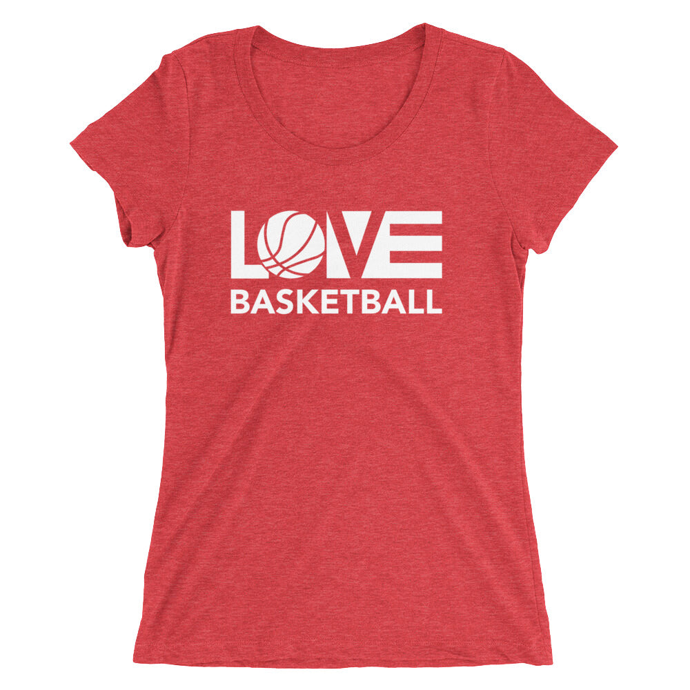 Red LOV=Basketball Ultra Slim Fit Triblend Tee