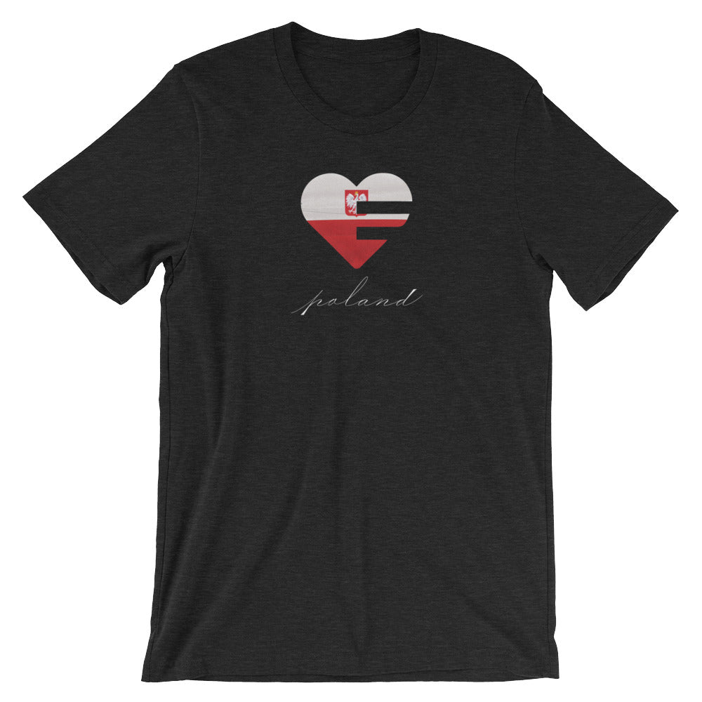 Black Poland Heart Unisex Tee