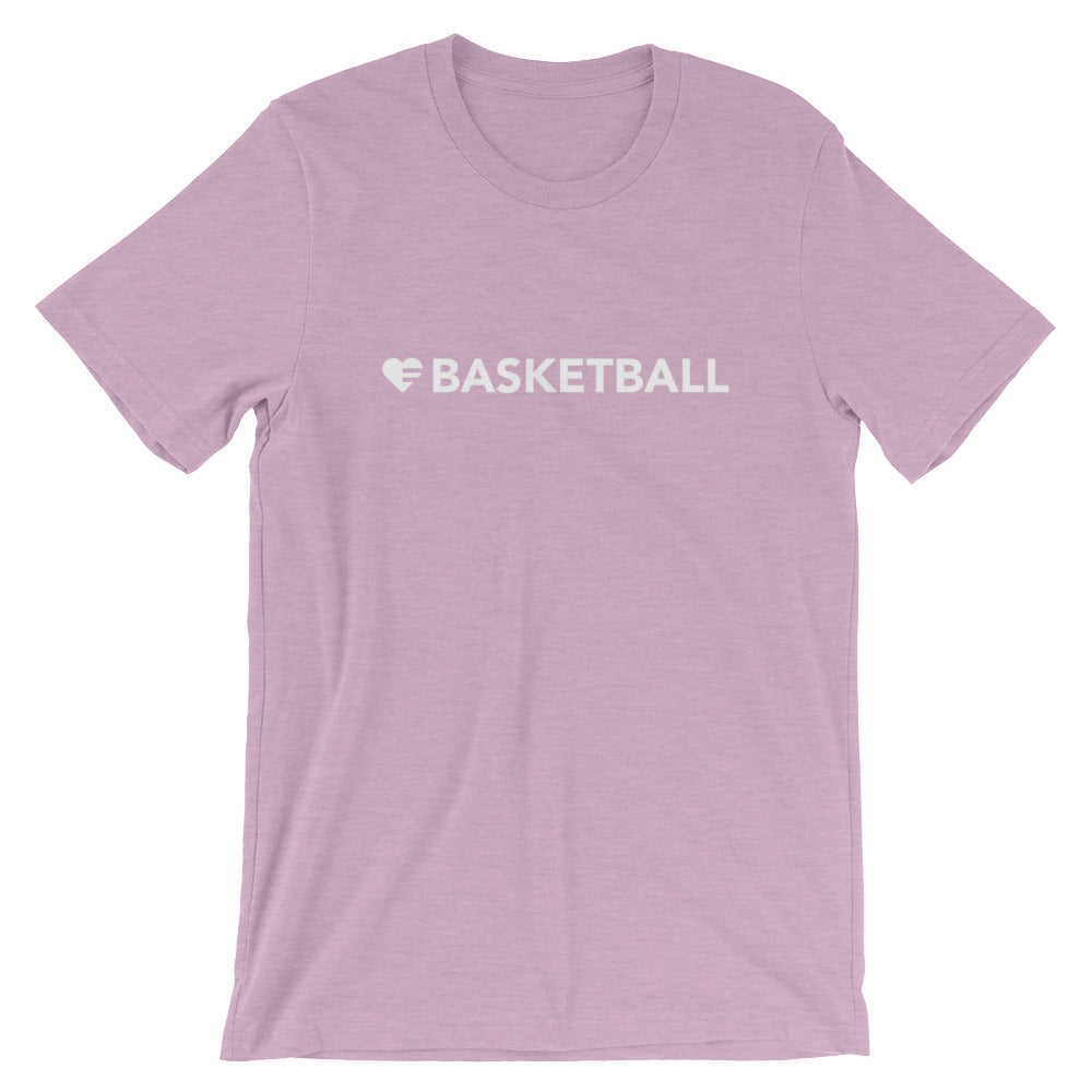 Heather Prism Lilac Heart=Basketball Unisex Tee