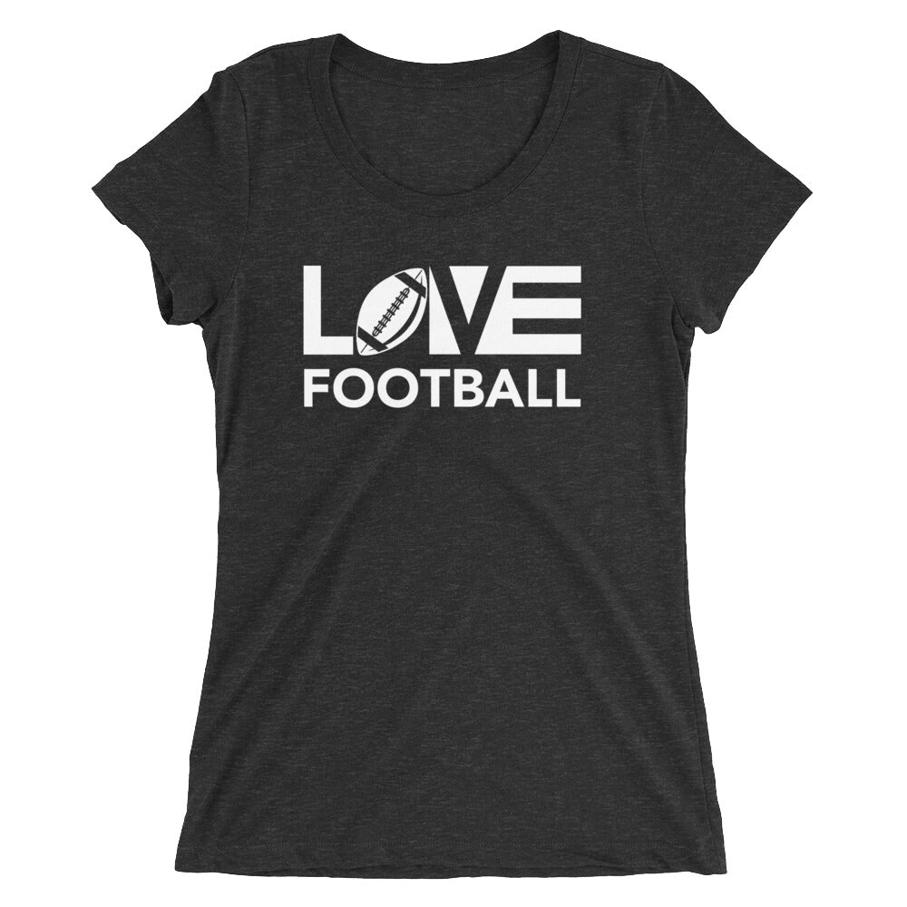 Black LOV=Football Ultra Slim Fit Triblend Tee