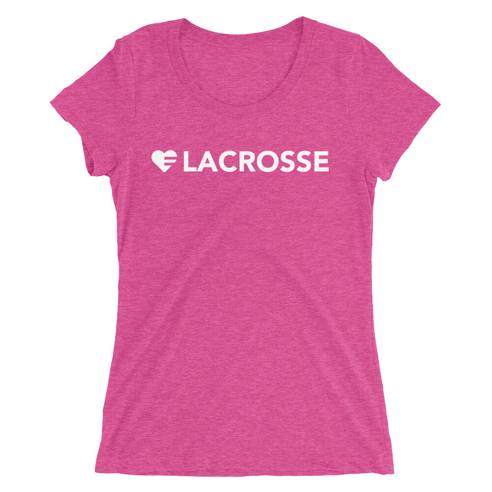 Berry Heart=Lacrosse Ultra Slim Fit Triblend Tee