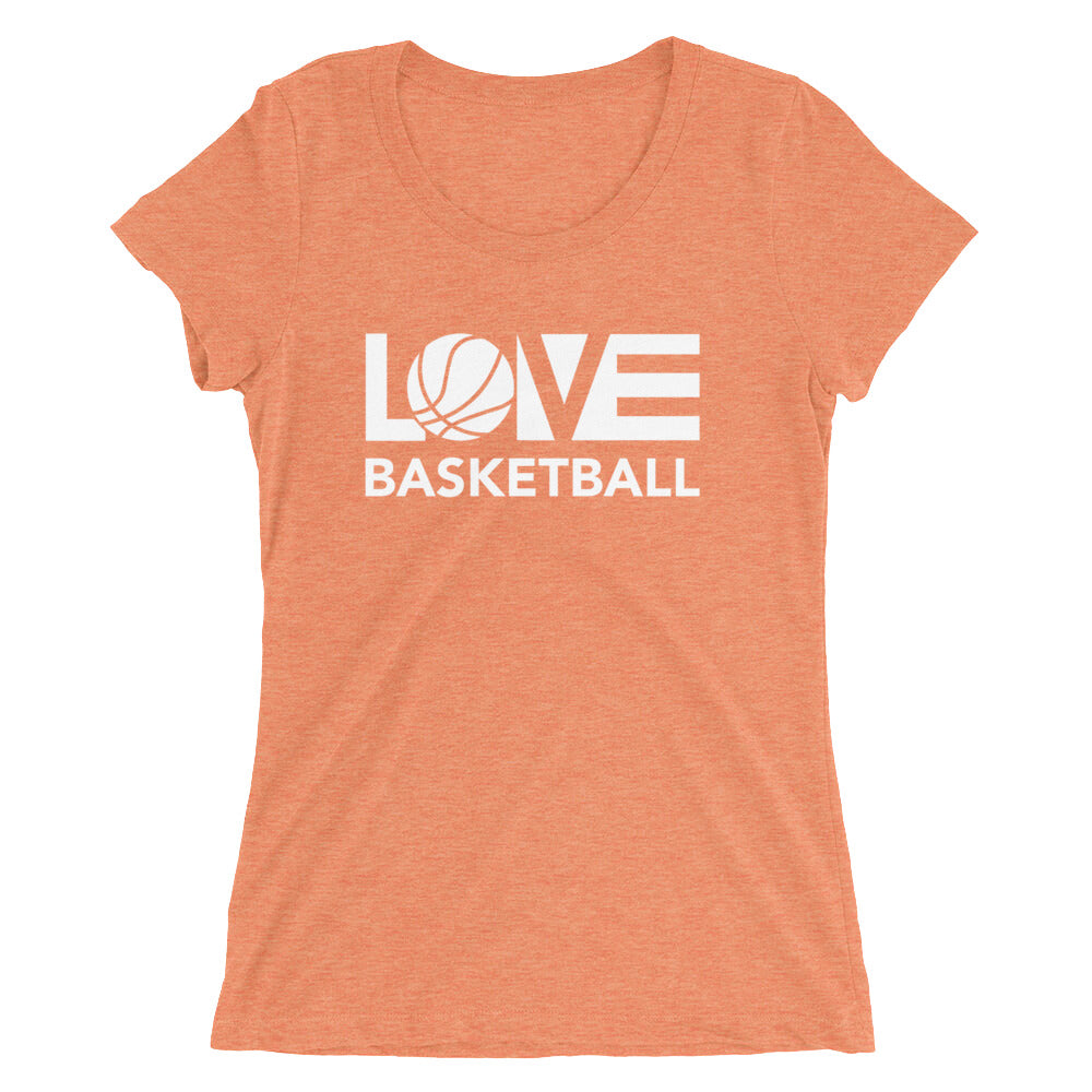 Orange LOV=Basketball Ultra Slim Fit Triblend Tee