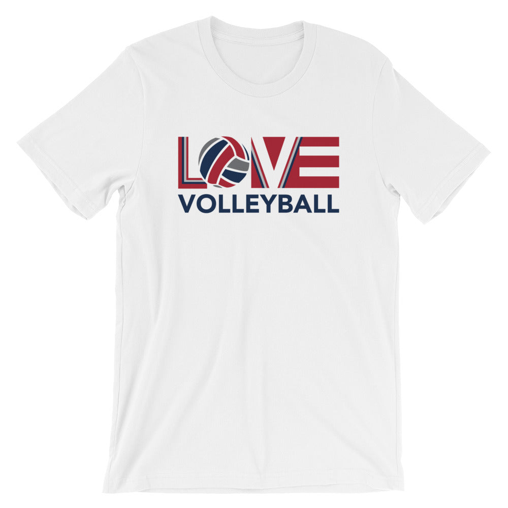 White LOV=Volleyball Unisex Tee