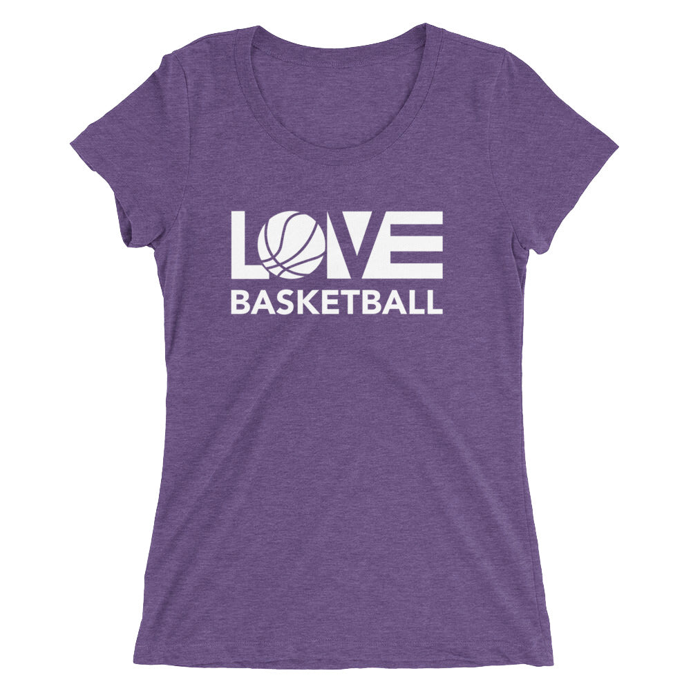 Purple LOV=Basketball Ultra Slim Fit Triblend Tee