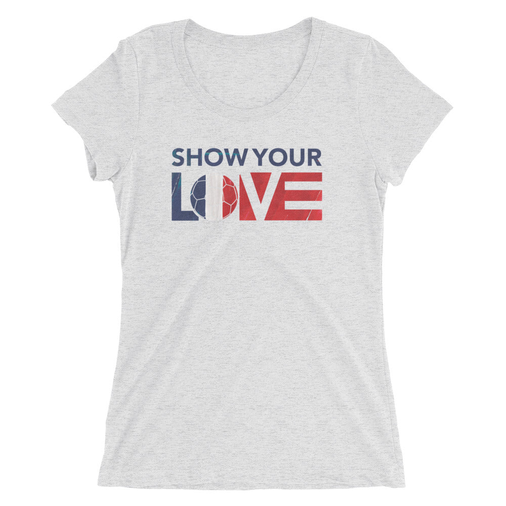 White Fleck Triblend Show Your Love France Ultra Slim Fit Tee