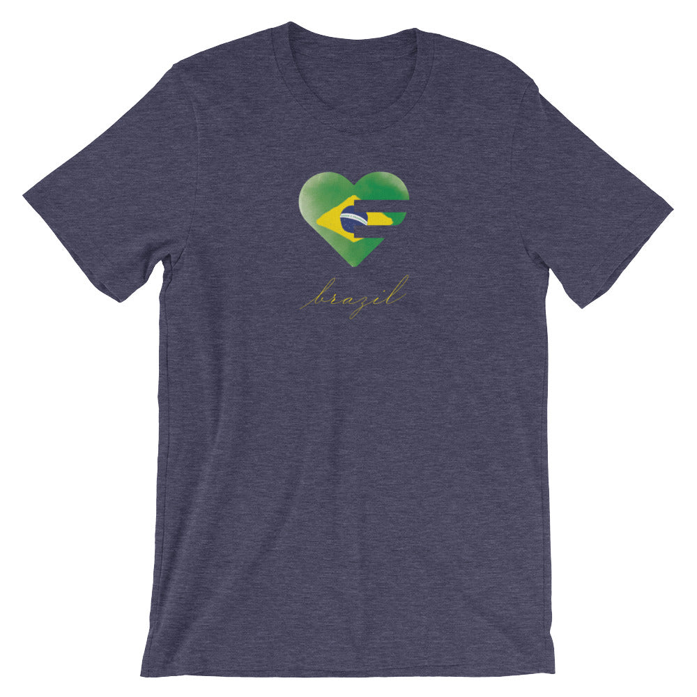Heather Midnight Navy Brazil Solo Heart Unisex Tee