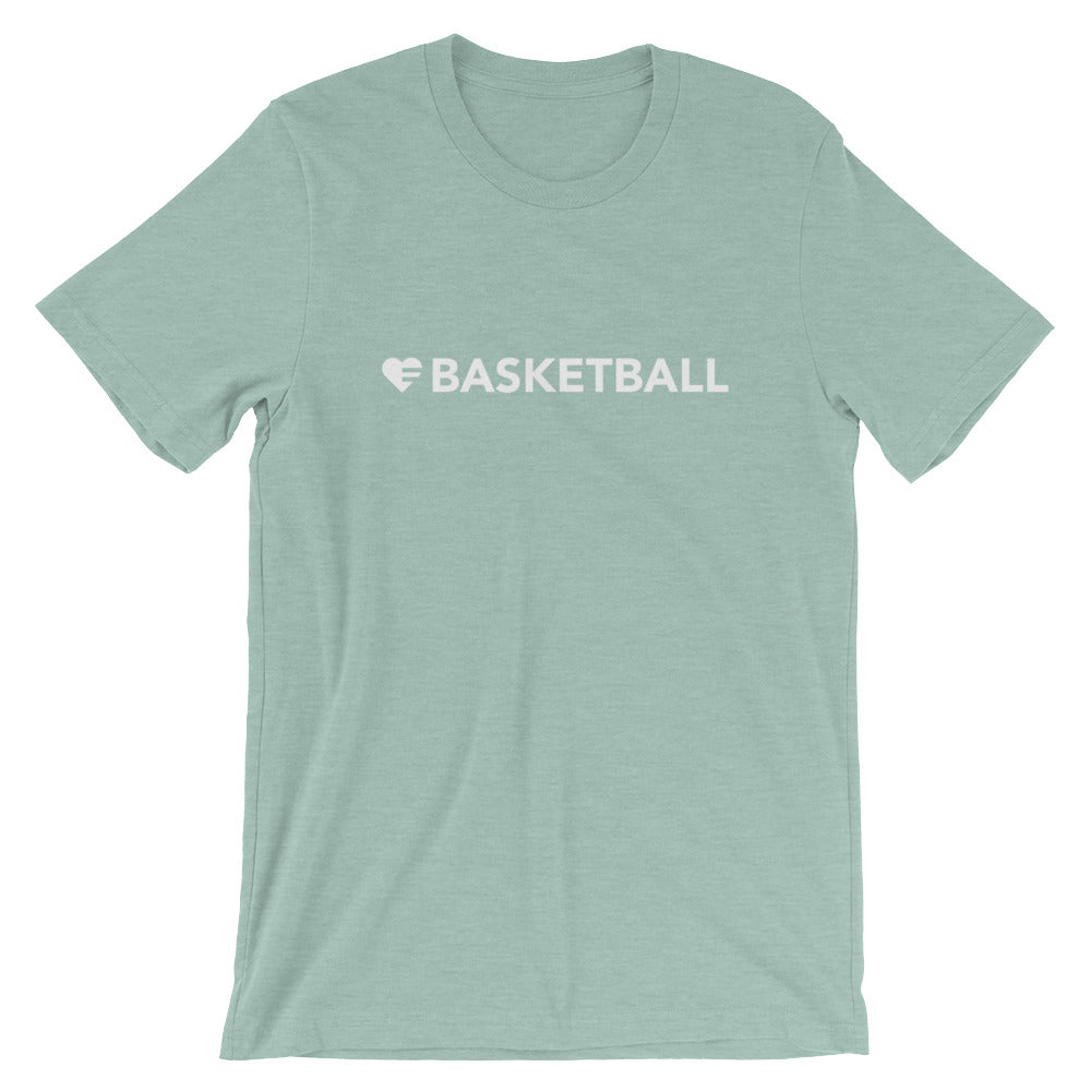 Heather Prism Dusty Blue Heart=Basketball Unisex Tee
