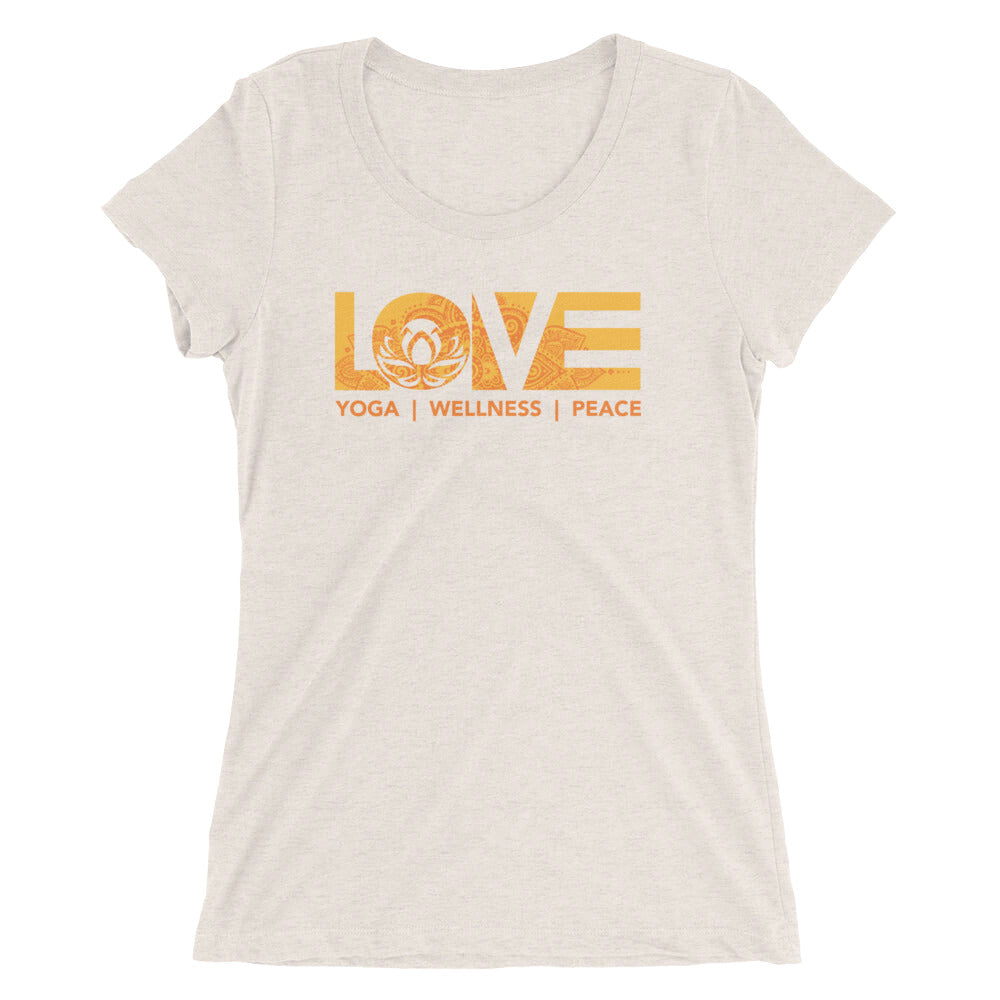 Oatmeal LOV=Yoga Ultra Slim Fit Triblend Tee