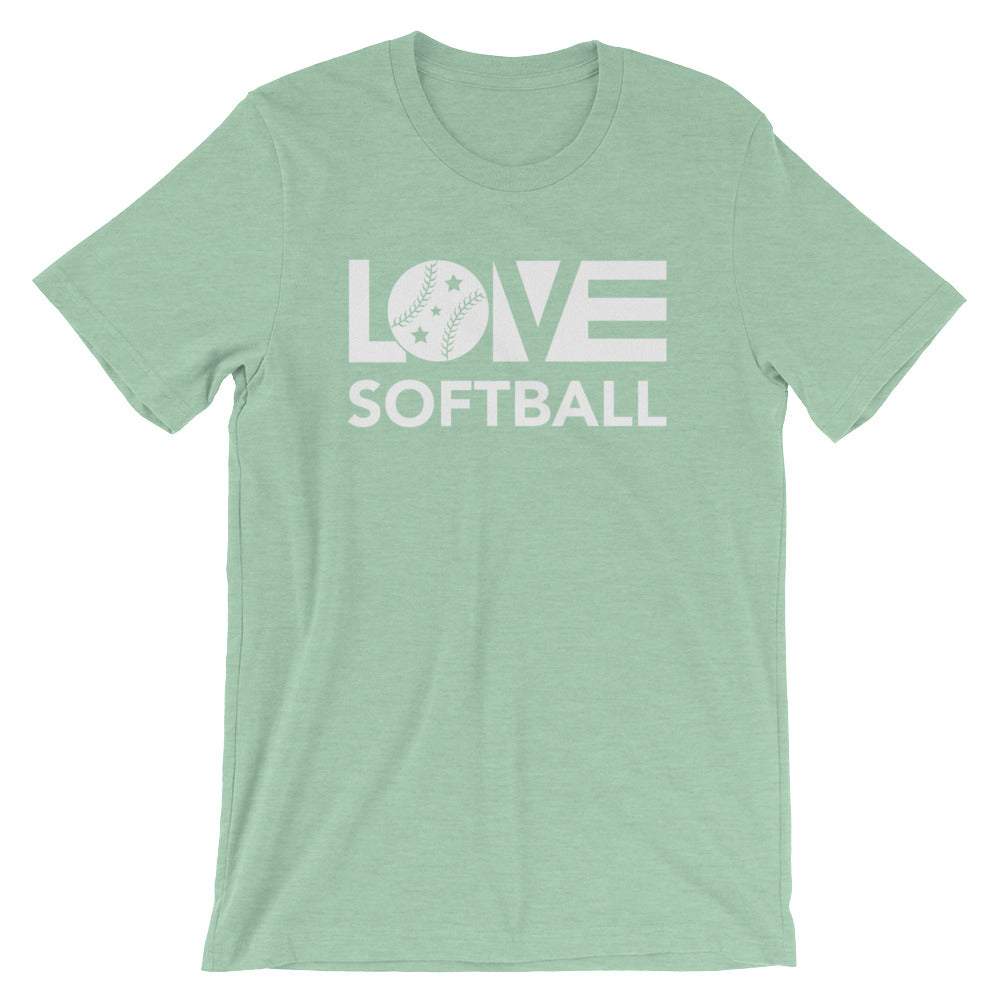 Prism mint LOV=Softball Unisex Tee