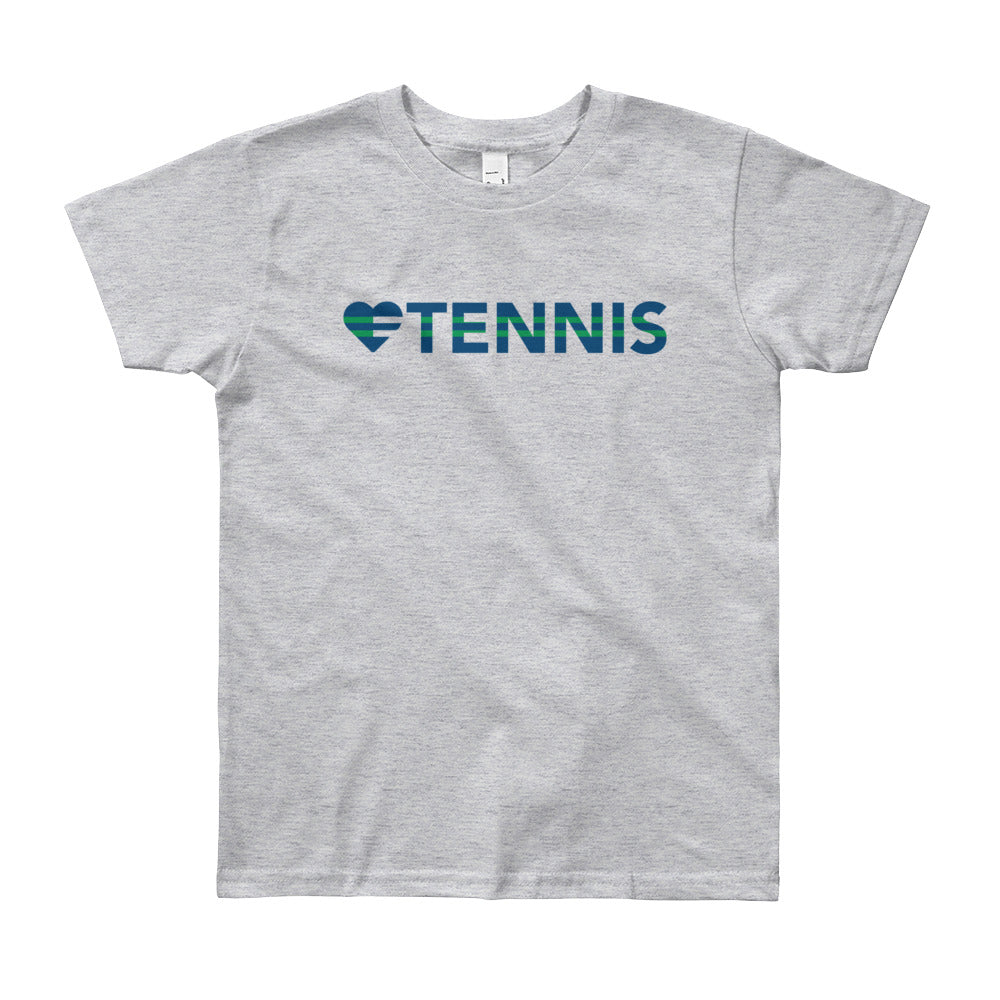 Heather grey Heart=Tennis Youth Tee