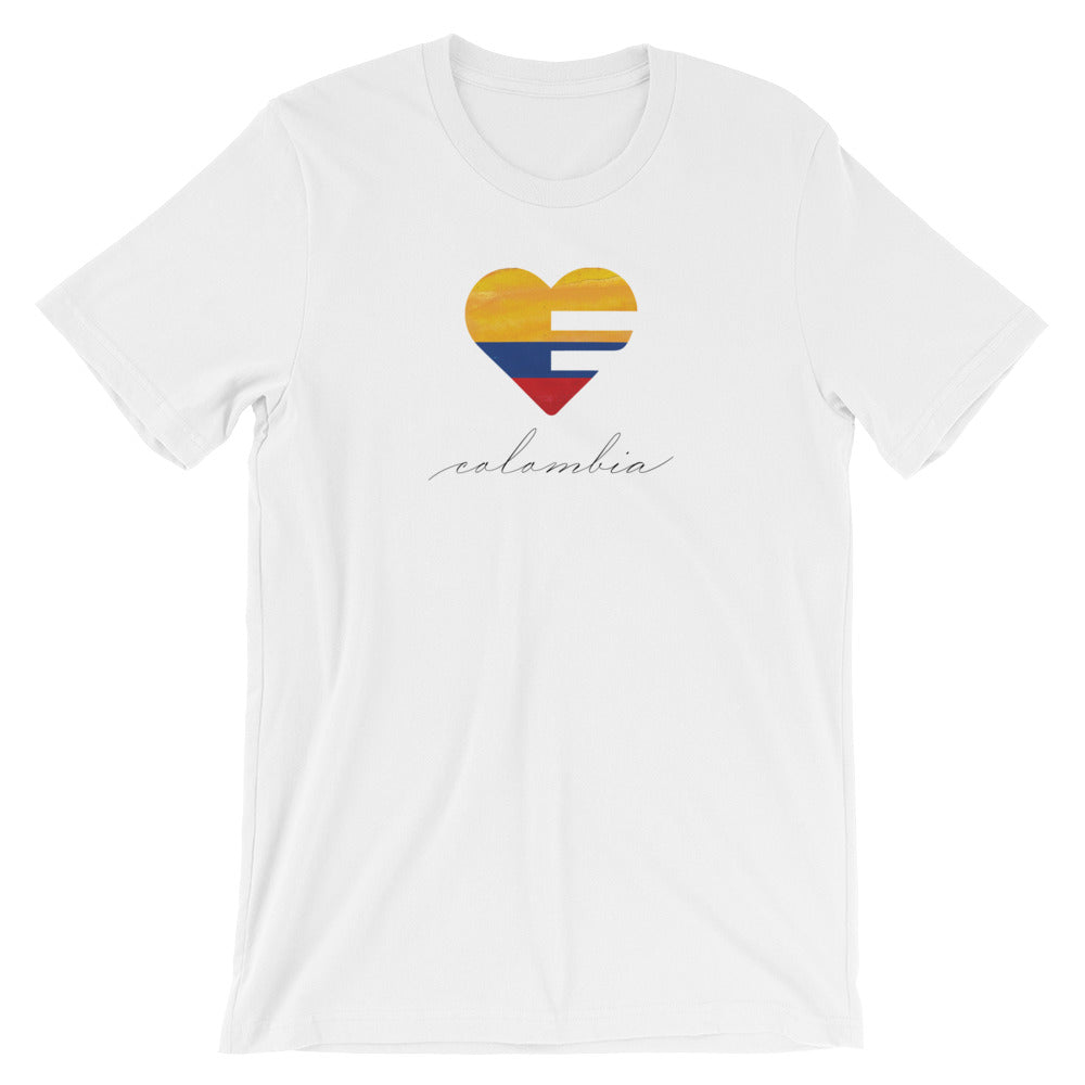 White Colombia Heart Unisex Tee