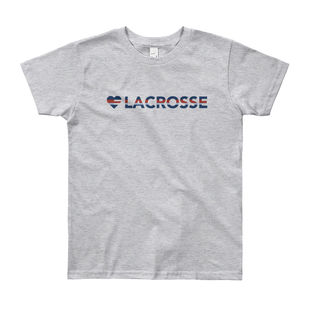 Heather Grey Heart=Lacrosse Youth Tee
