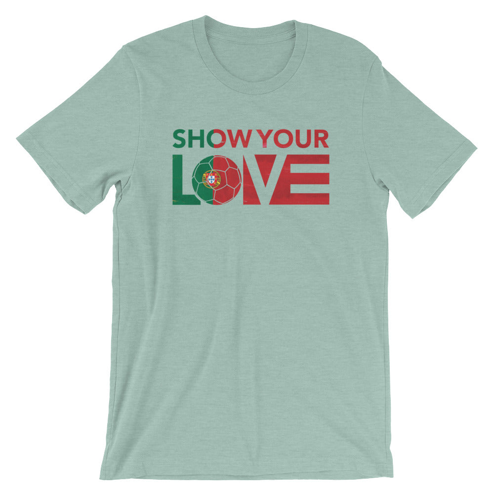 Heather Prism Dusty Blue Show Your Love Portugal Unisex Tee
