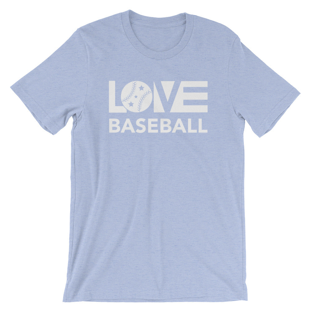 Heather blue LOV=Baseball Unisex Tee