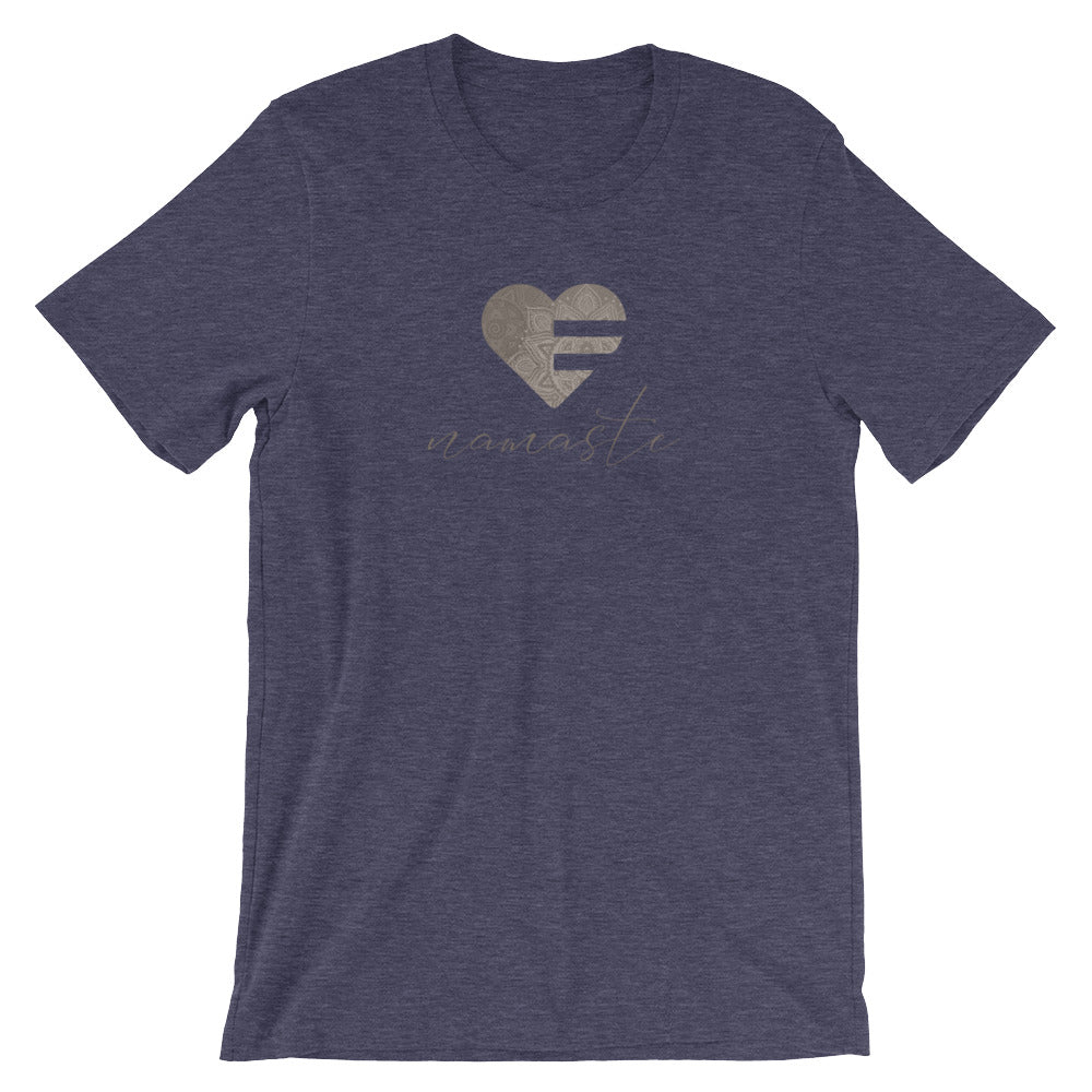 Heather Midnight Navy Heart Namaste Unisex Tee
