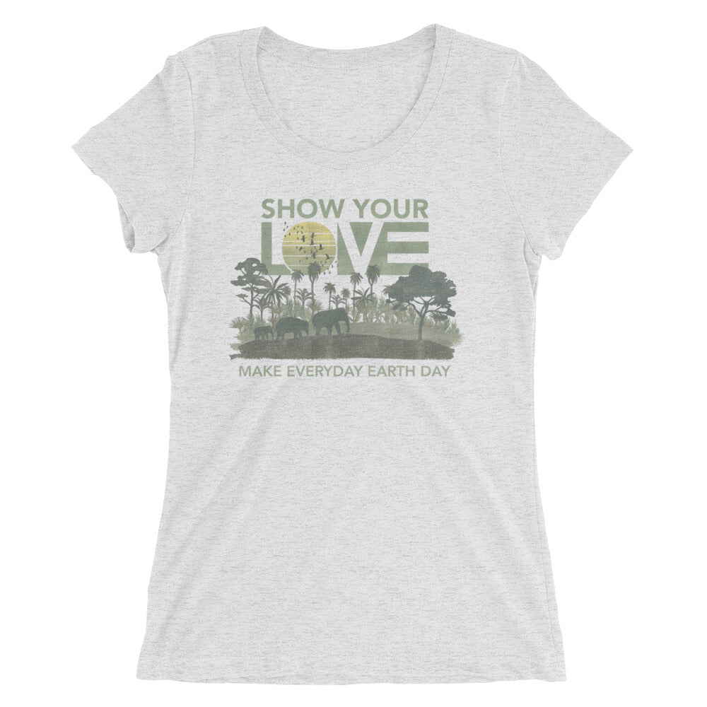 White Fleck Earth Day Ultra Slim Fit Triblend Tee