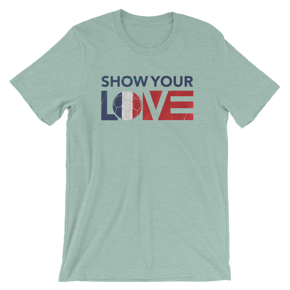 Heather Prism Dusty Blue Show Your Love France Unisex Tee