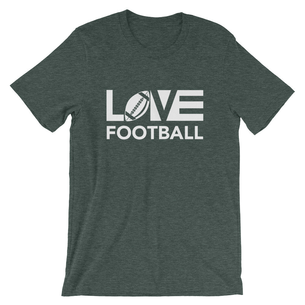 Heather forest LOV=Football Unisex Tee