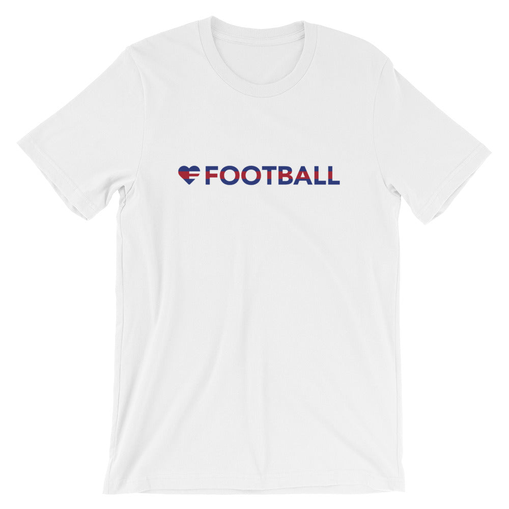 White Heart=Football Unisex Tee