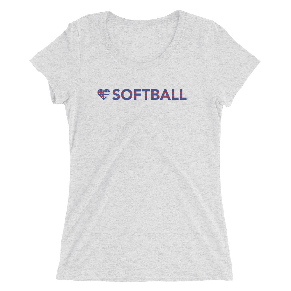 White Heart=Softball Ultra Slim Fit Triblend Tee