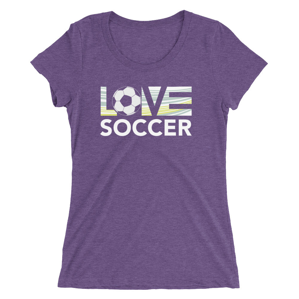 Purple LOV=Soccer Ultra Slim Fit Triblend Tee