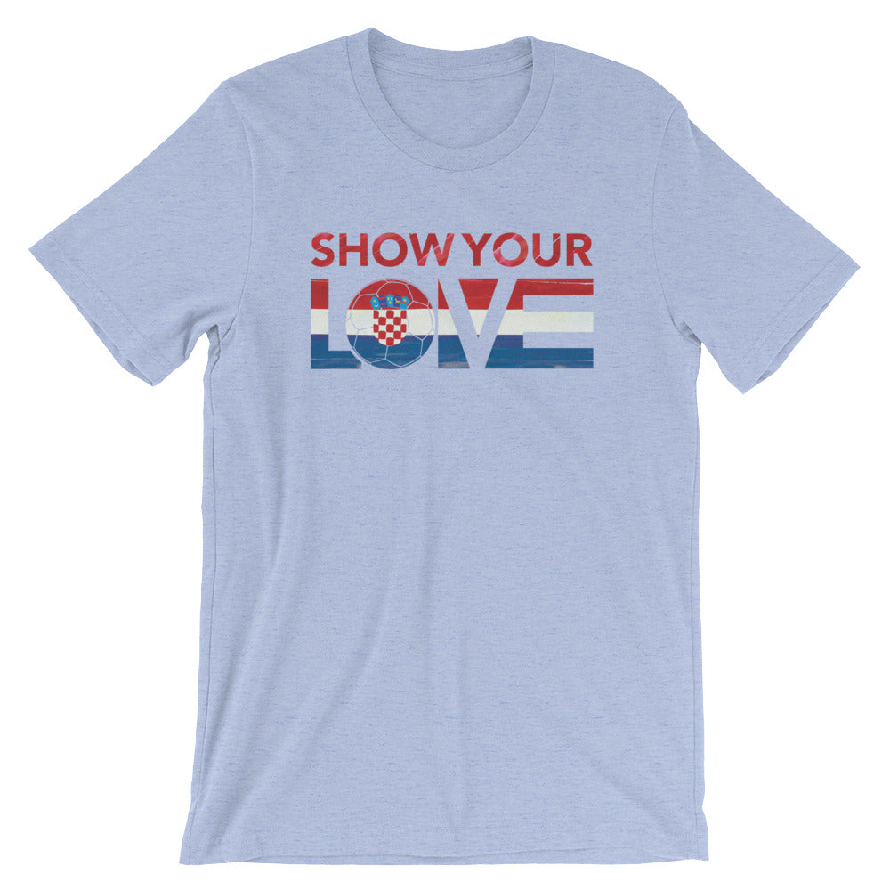 Heather Blue Show Your Love Croatia Unisex Tee