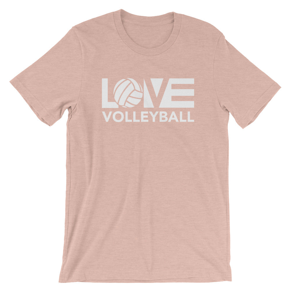 Prism Peach LOV=Volleyball Unisex Tee