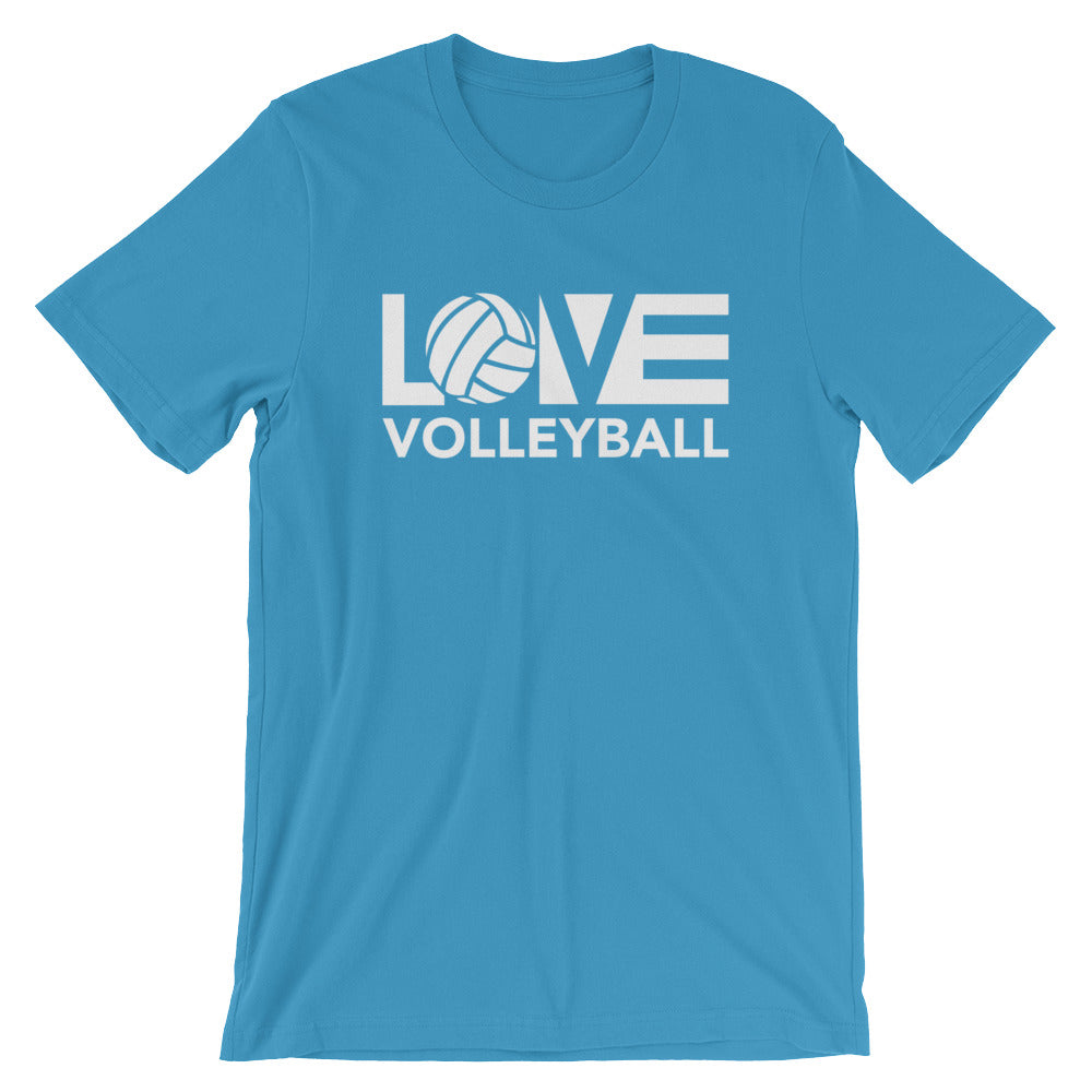 Ocean Blue LOV=Volleyball Unisex Tee
